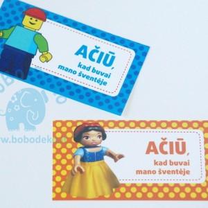 """""""Ačiū"""" kortelė """"Lego"""" 10vnt."""