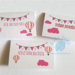 """Stalo kortelės """"Rožiniai oro balionai"""", 5vnt."""